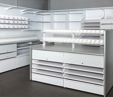D25 Pharmacy shelving and storage